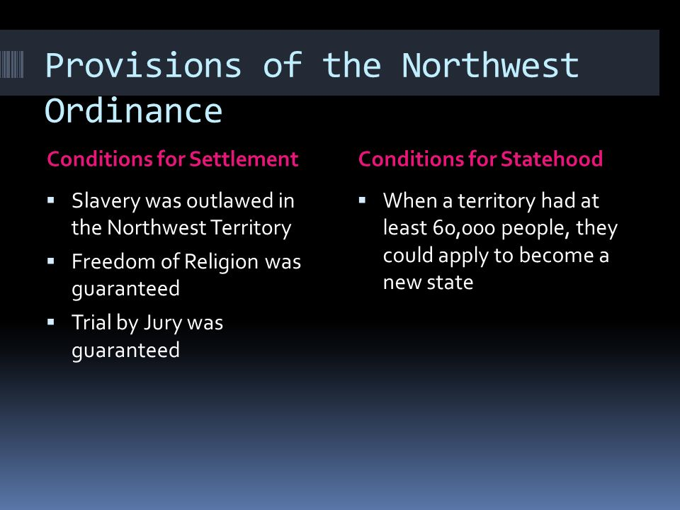 Provisions of the Northwest Ordinance