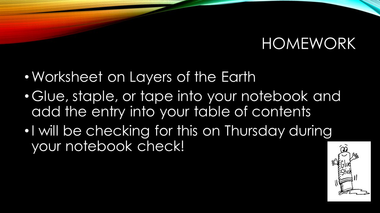 Homework Worksheet on Layers of the Earth