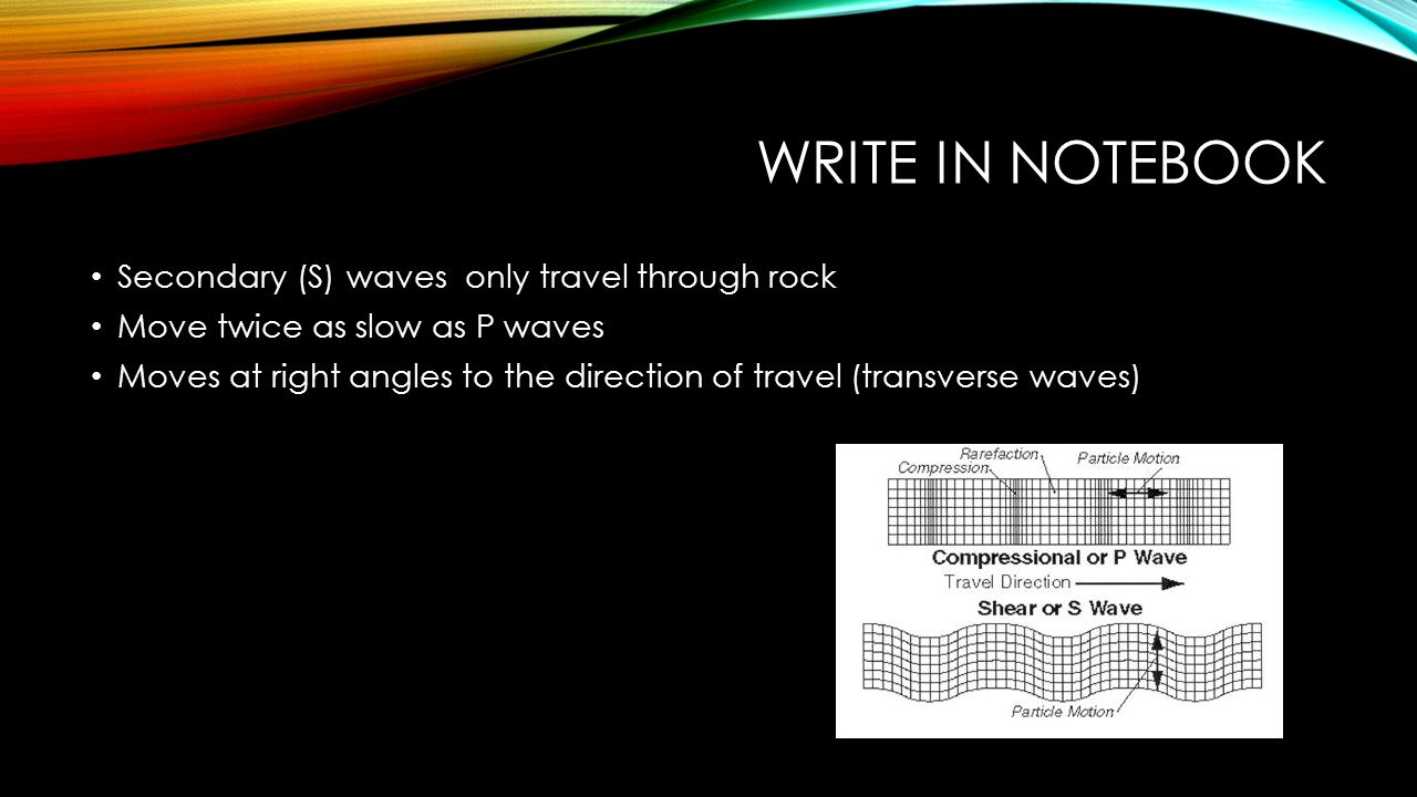Write in notebook Secondary (S) waves only travel through rock