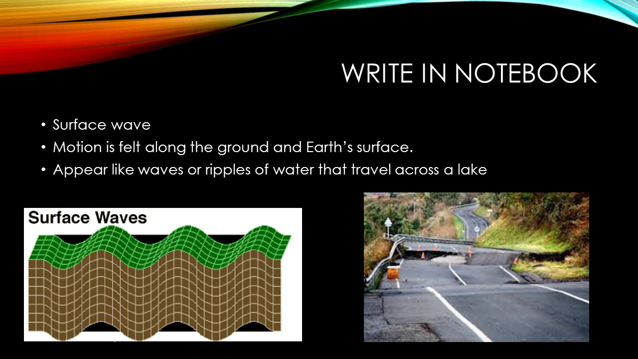 Write in notebook Surface wave