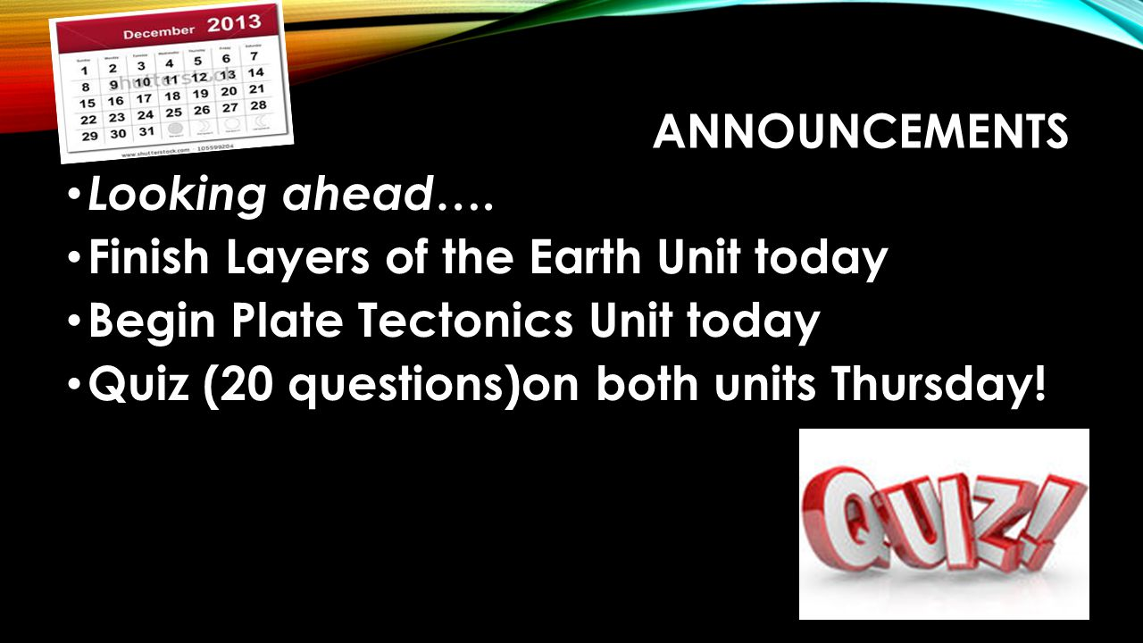 Announcements Looking ahead…. Finish Layers of the Earth Unit today. Begin Plate Tectonics Unit today.