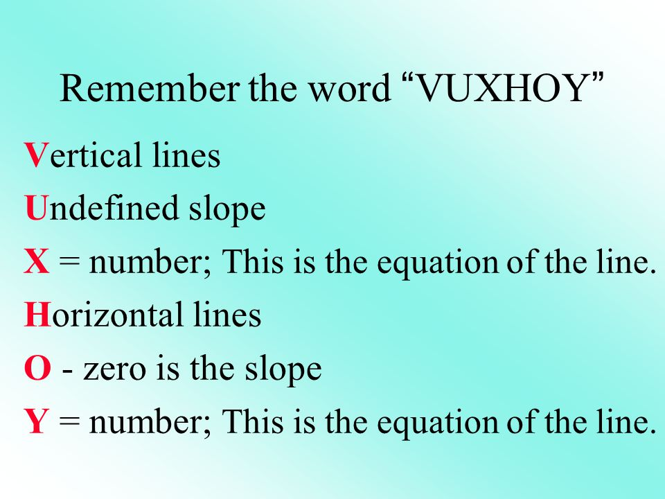 Remember the word VUXHOY