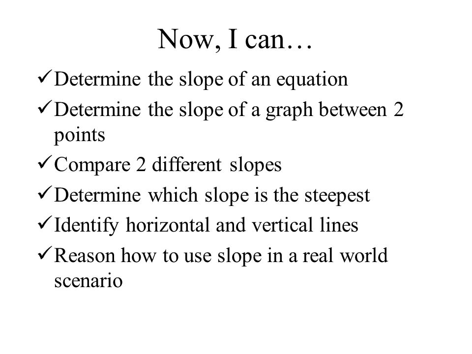 Now, I can… Determine the slope of an equation