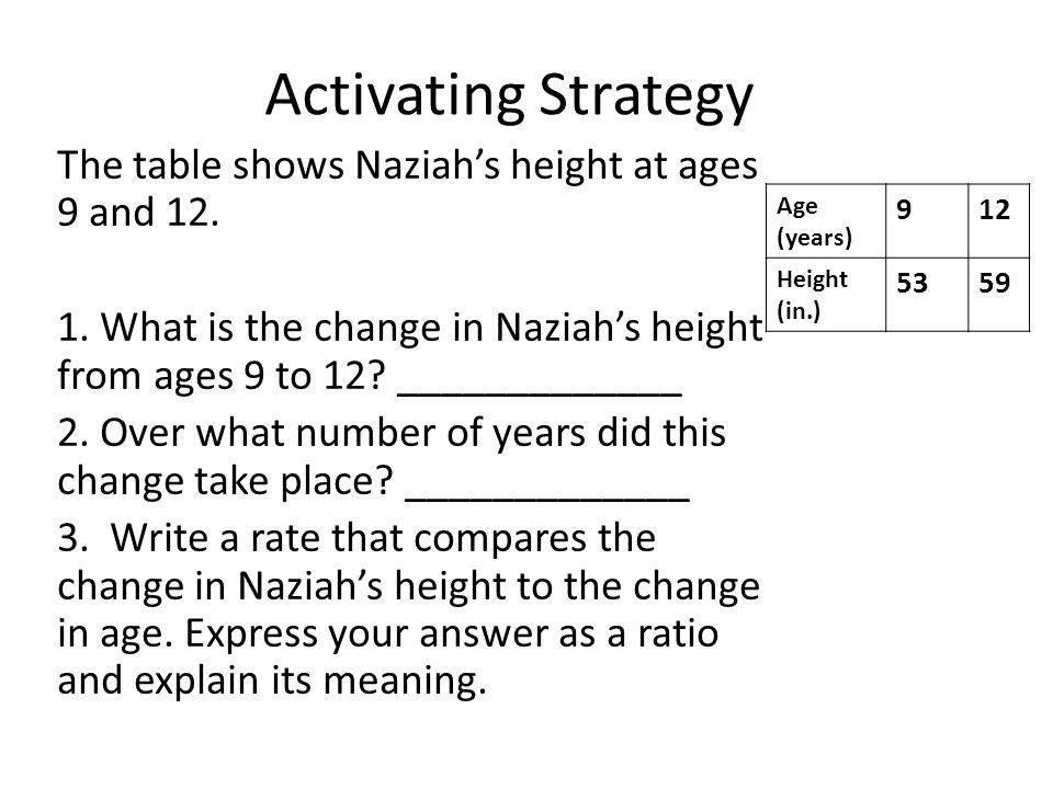 Activating Strategy The table shows Naziah's height at ages 9 and 12.