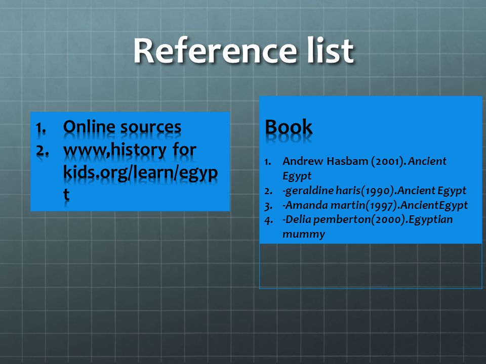 Reference list Book Online sources