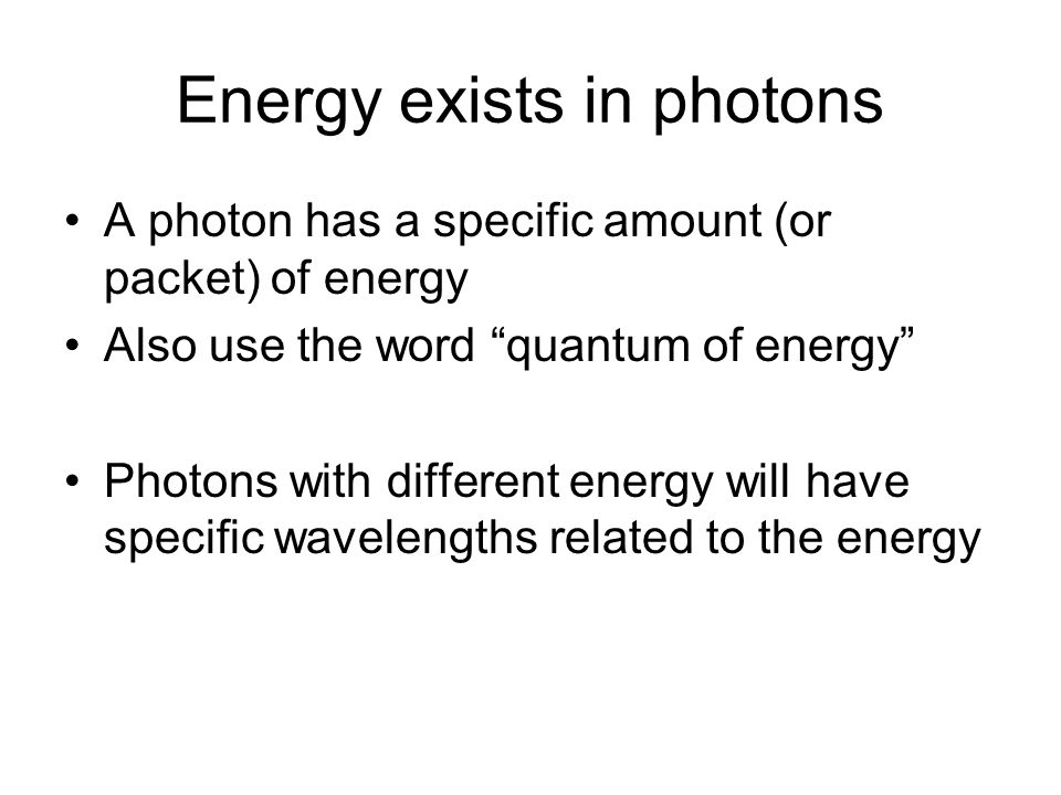 Energy exists in photons