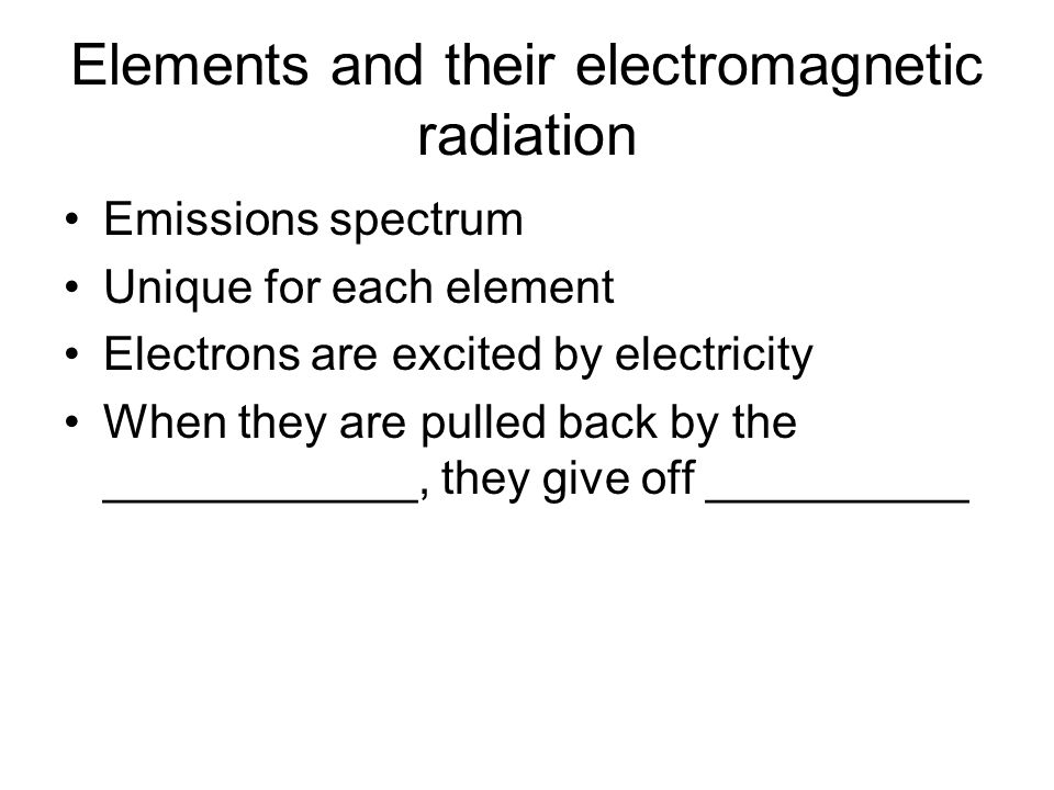 Elements and their electromagnetic radiation