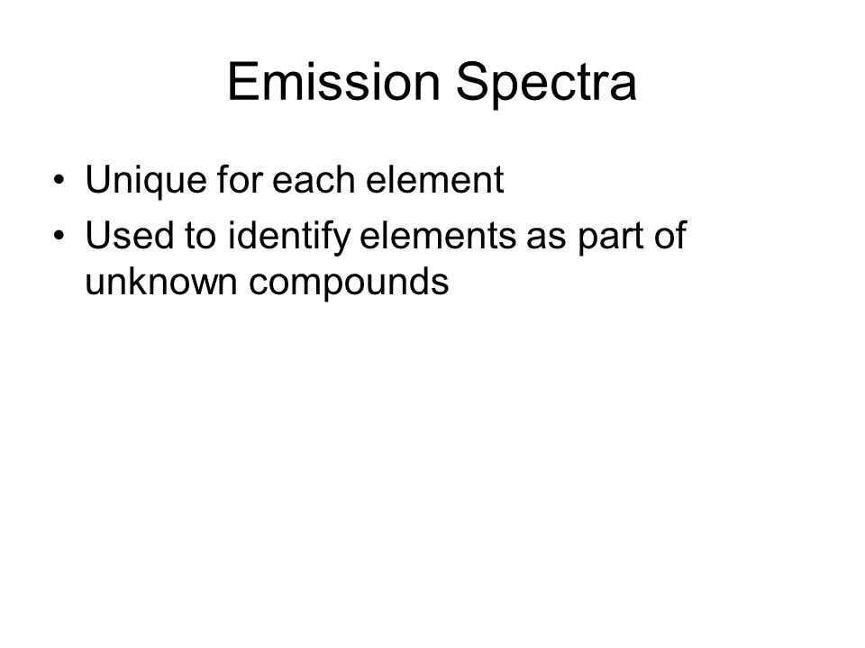 Emission Spectra Unique for each element