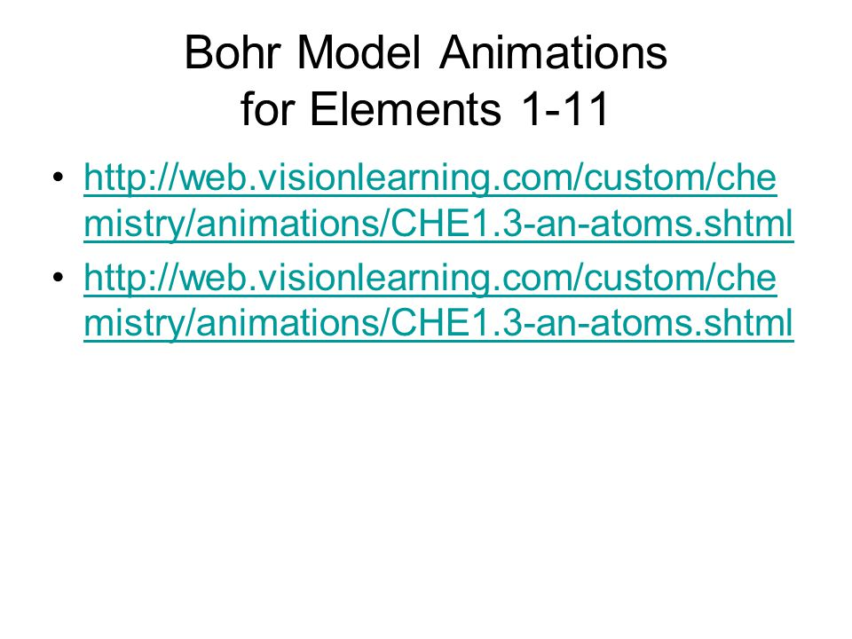Bohr Model Animations for Elements 1-11