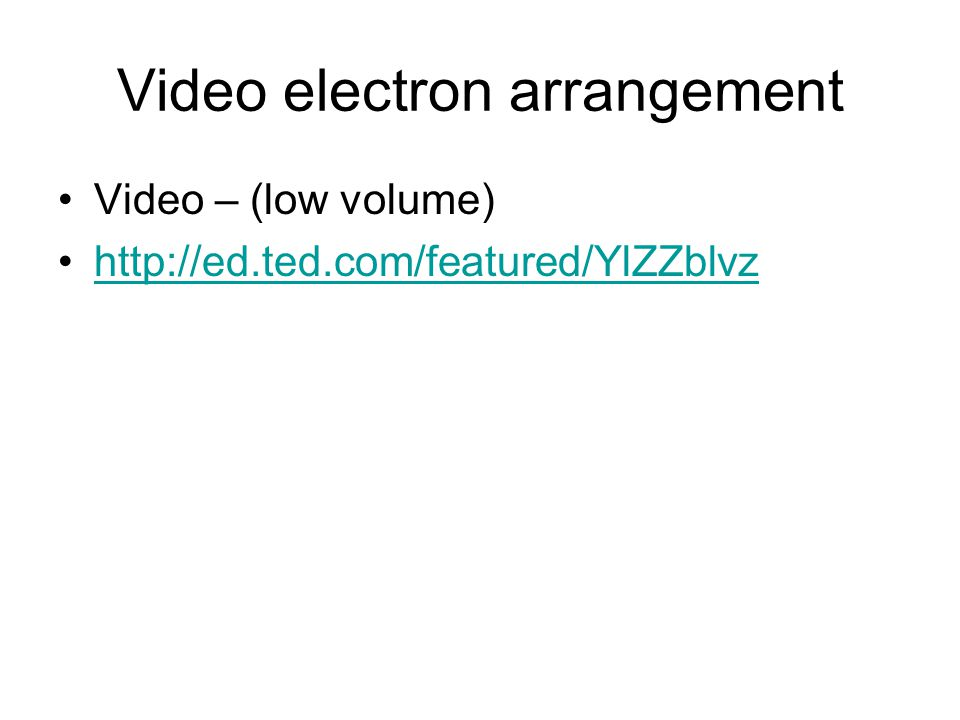 Video electron arrangement