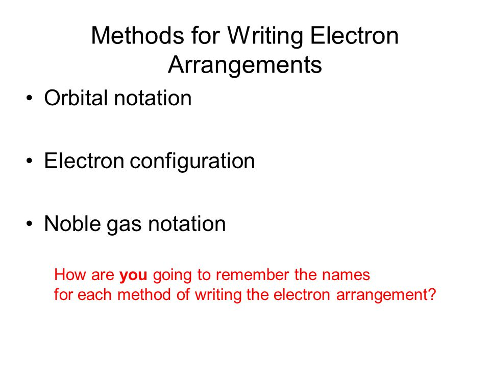 Methods for Writing Electron Arrangements