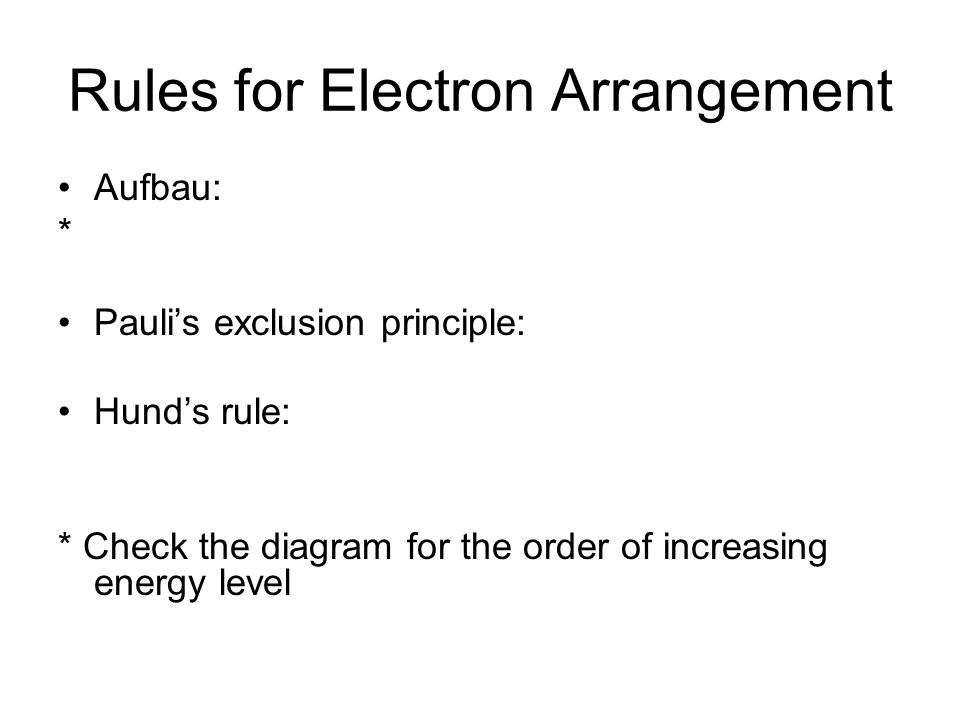 Rules for Electron Arrangement