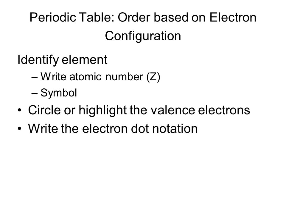 Periodic Table: Order based on Electron Configuration