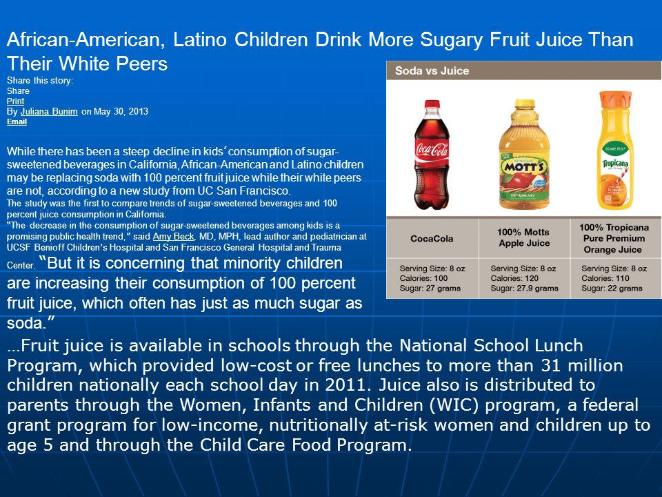 African-American, Latino Children Drink More Sugary Fruit Juice Than Their White Peers
