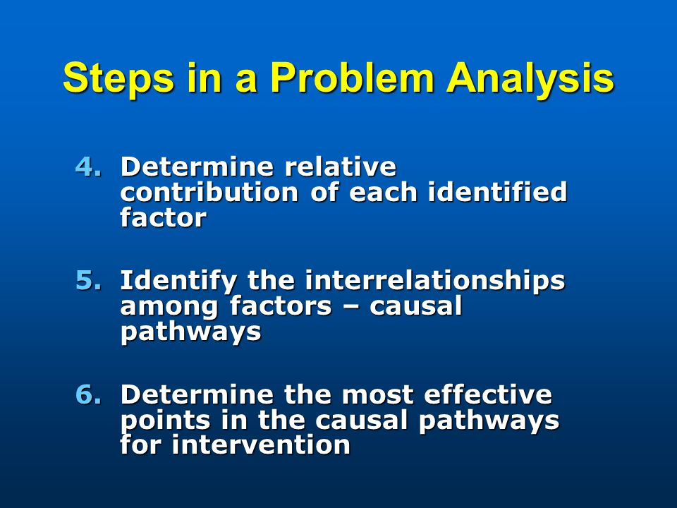 Steps in a Problem Analysis