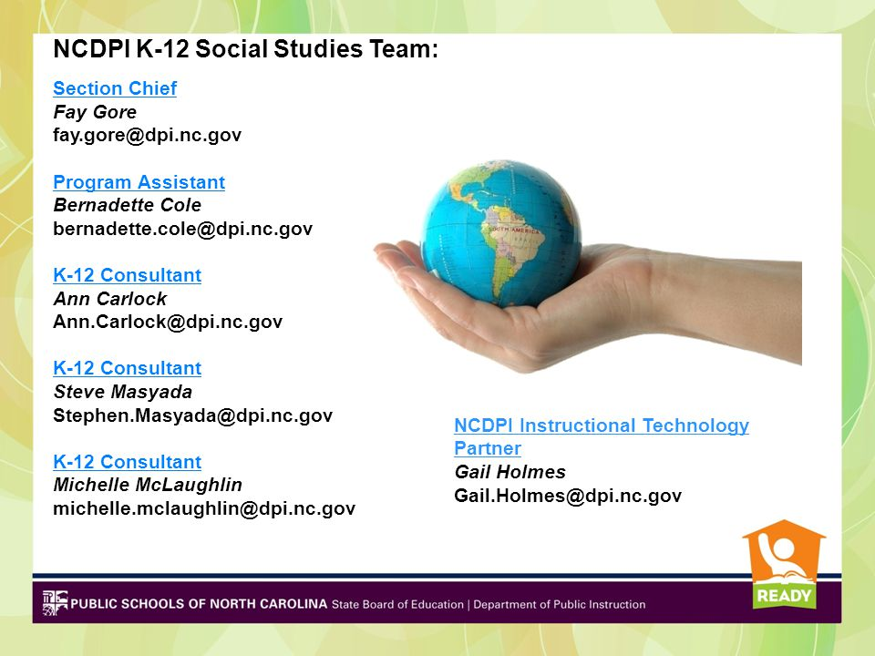NCDPI K-12 Social Studies Team: