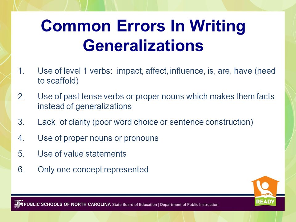 Common Errors In Writing Generalizations