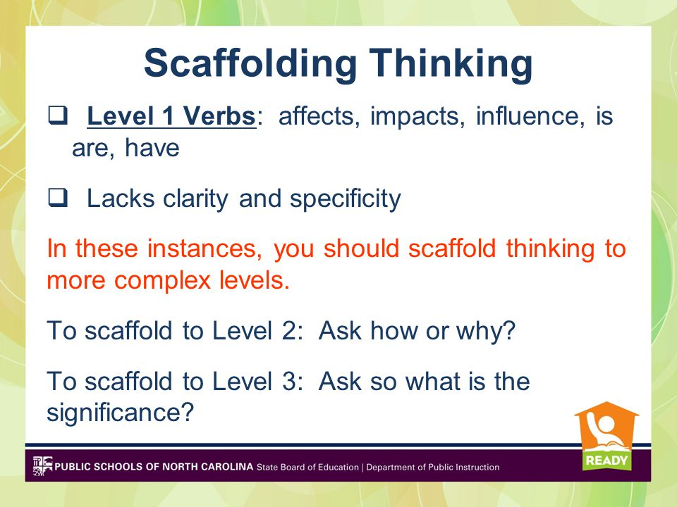 Scaffolding Thinking Level 1 Verbs: affects, impacts, influence, is are, have. Lacks clarity and specificity.