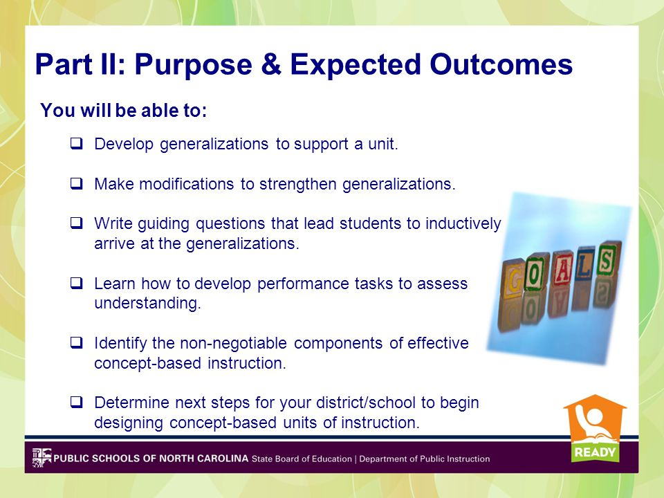 Part II: Purpose & Expected Outcomes
