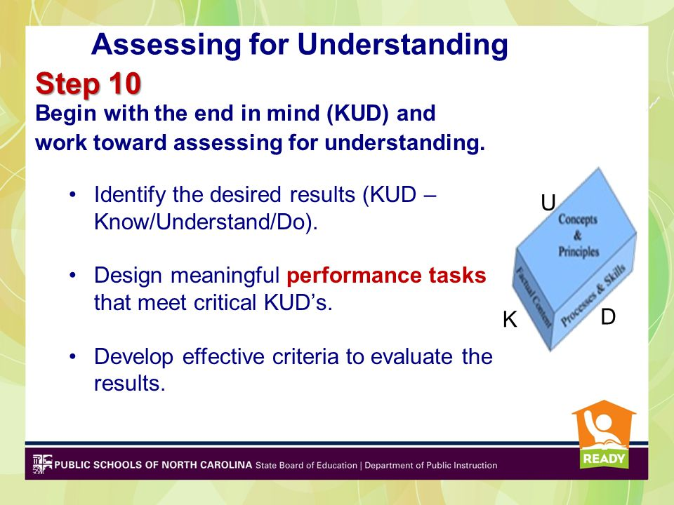 Assessing for Understanding Step 10