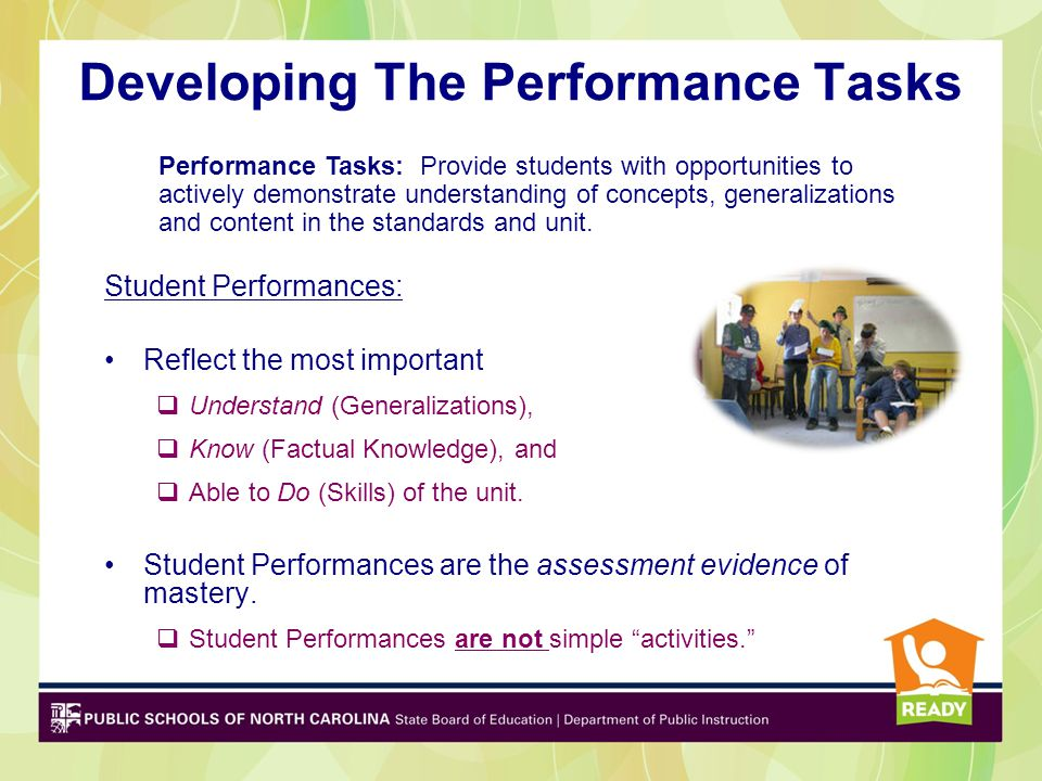 Developing The Performance Tasks