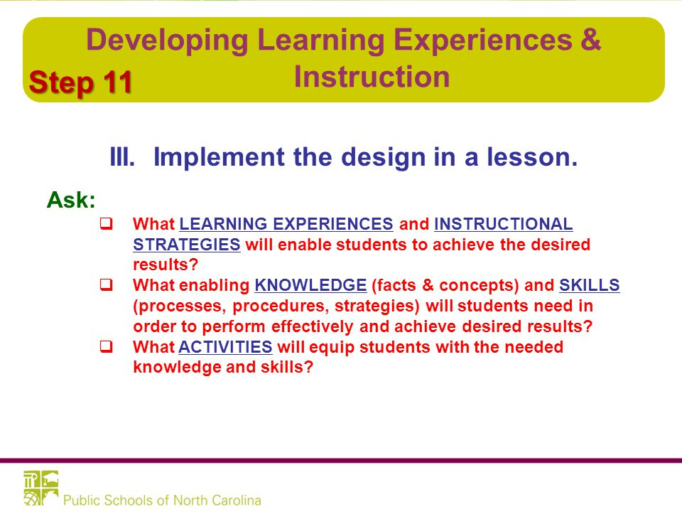 Developing Learning Experiences & Instruction