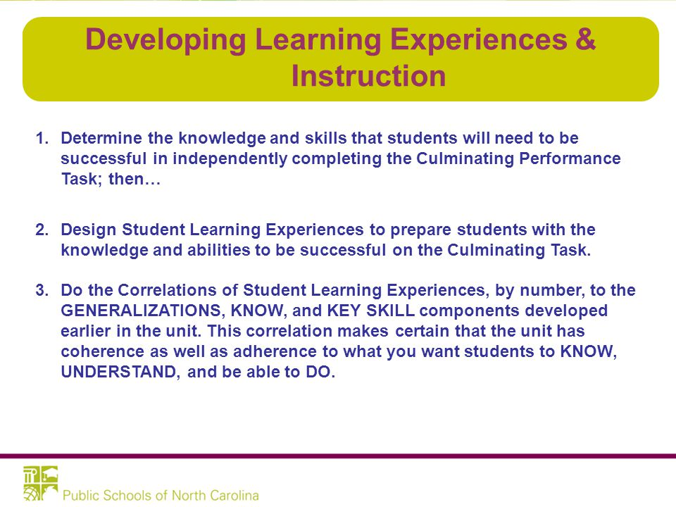 Developing Learning Experiences