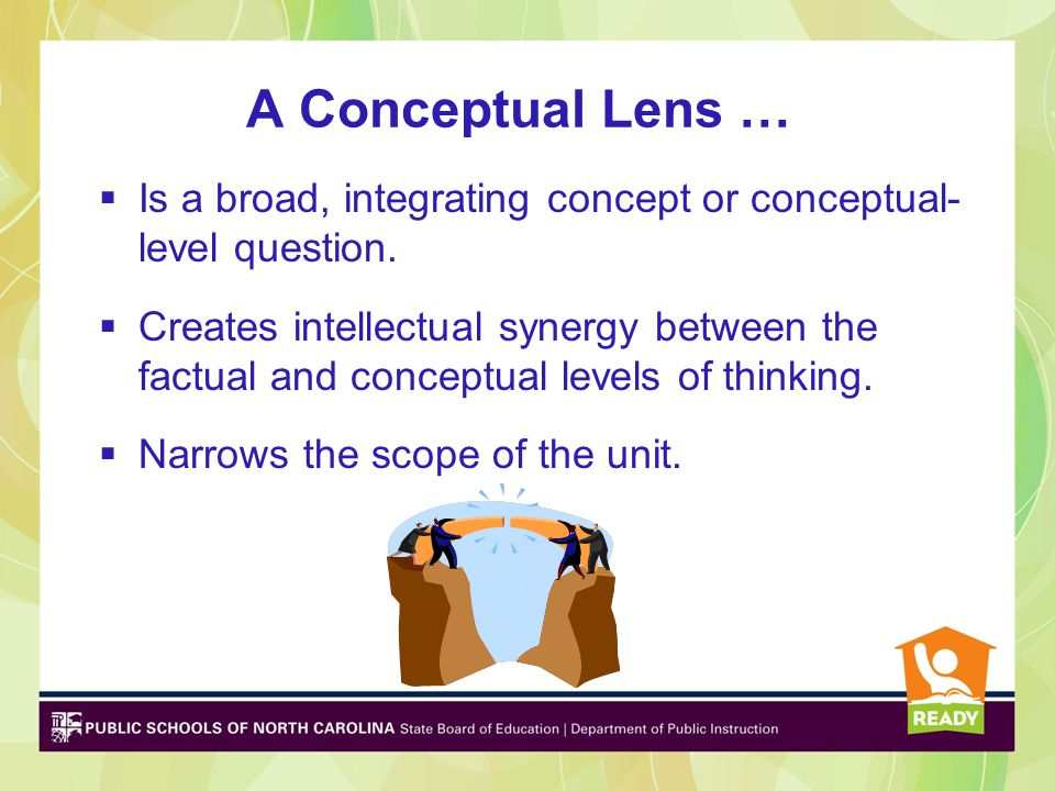 A Conceptual Lens … Is a broad, integrating concept or conceptual- level question.