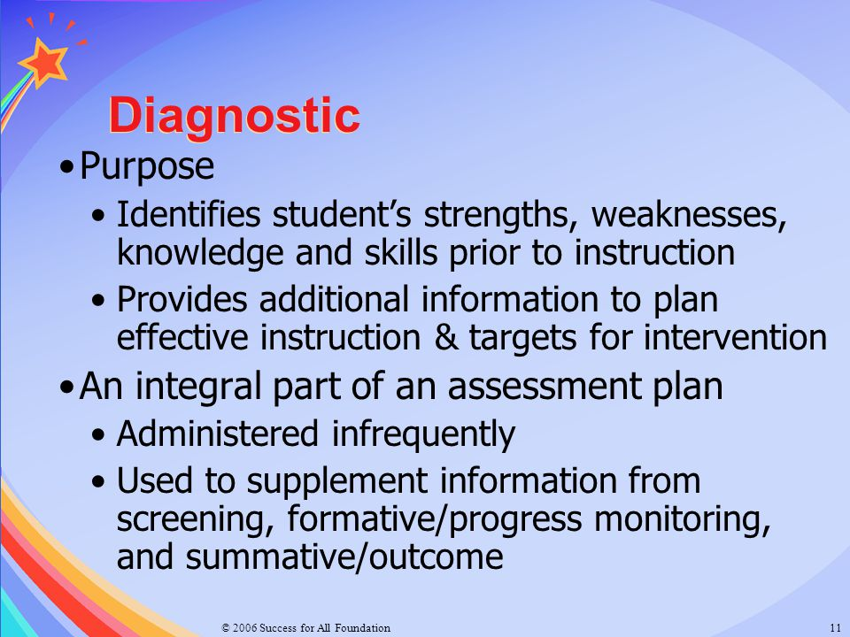 Diagnostic Purpose An integral part of an assessment plan