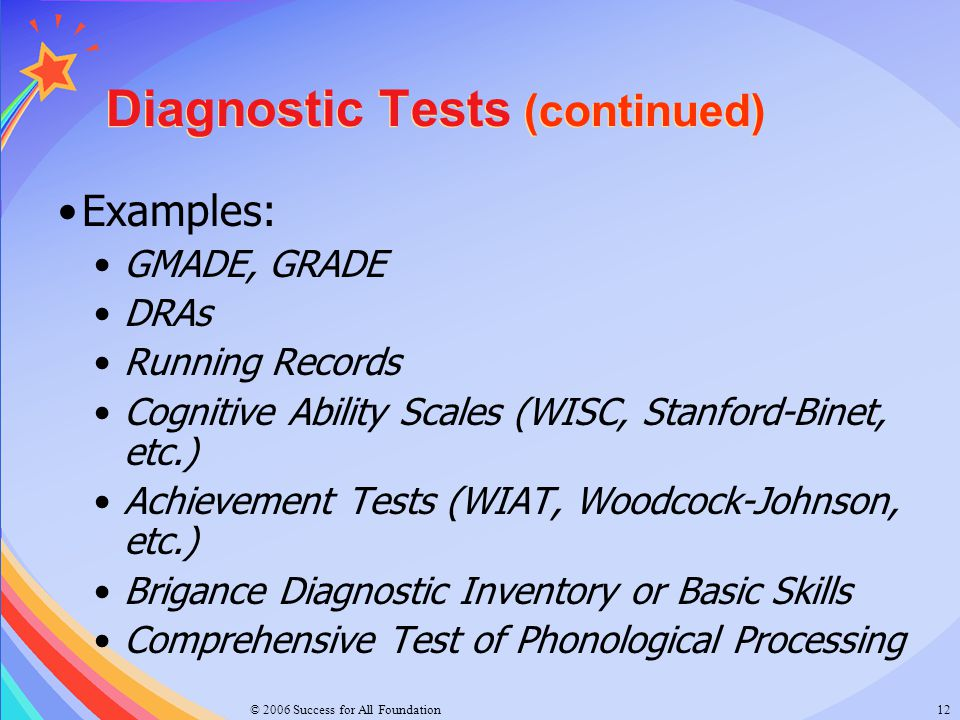 Diagnostic Tests (continued)