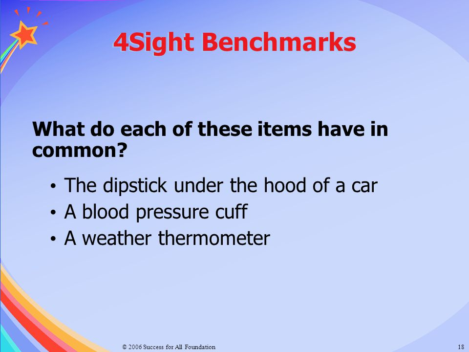4Sight Benchmarks What do each of these items have in common