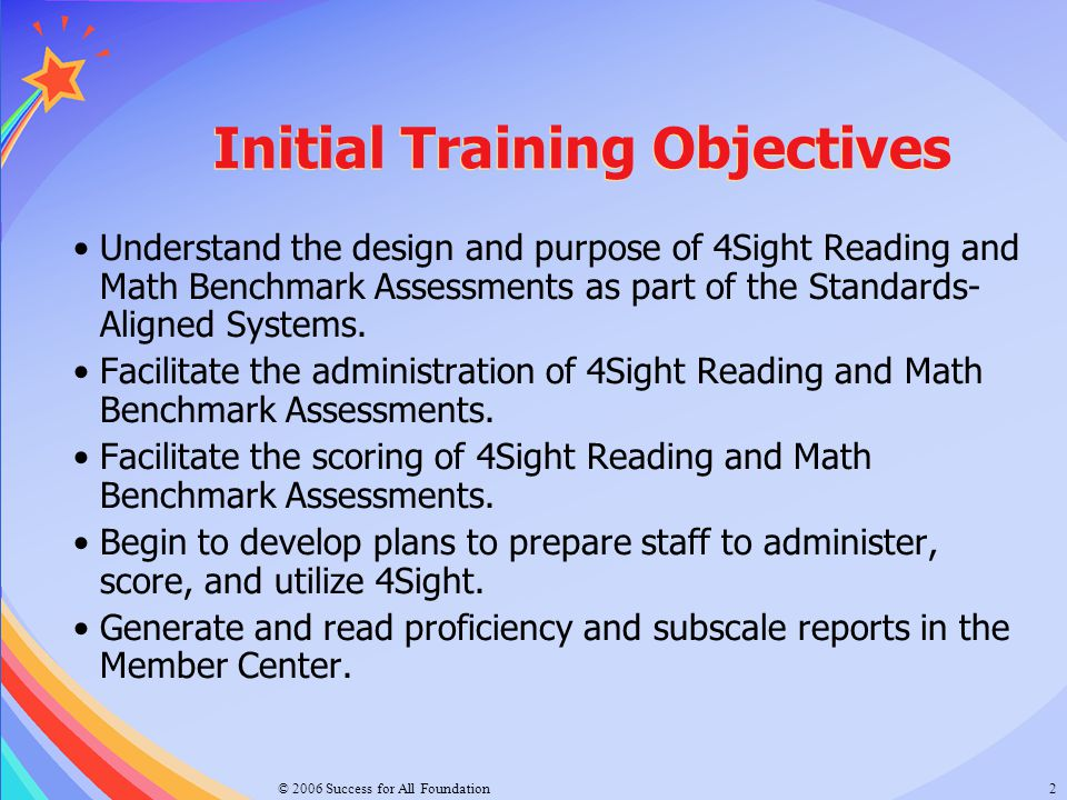 Initial Training Objectives