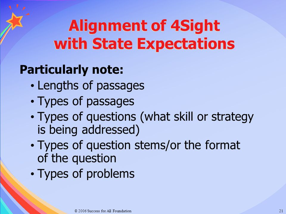 Alignment of 4Sight with State Expectations