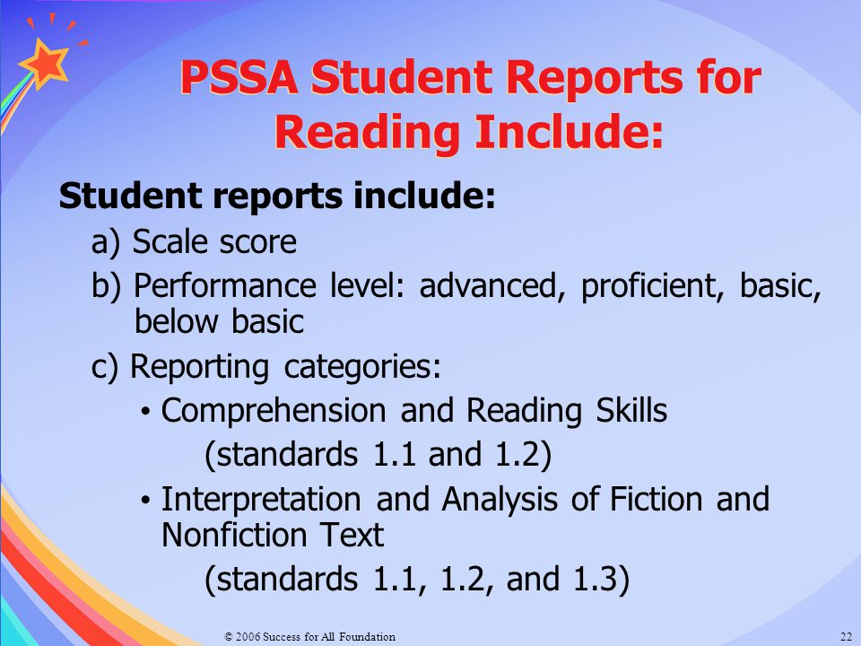 PSSA Student Reports for Reading Include: