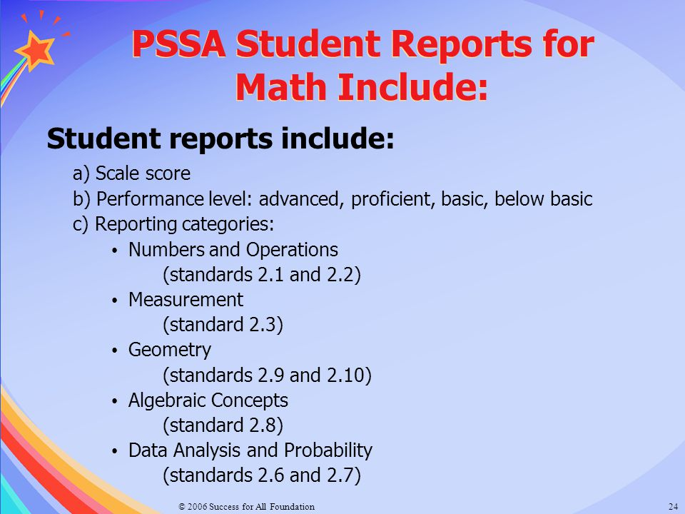 PSSA Student Reports for Math Include: