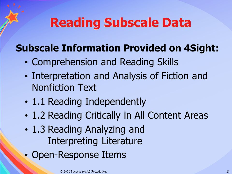 Reading Subscale Data Subscale Information Provided on 4Sight: