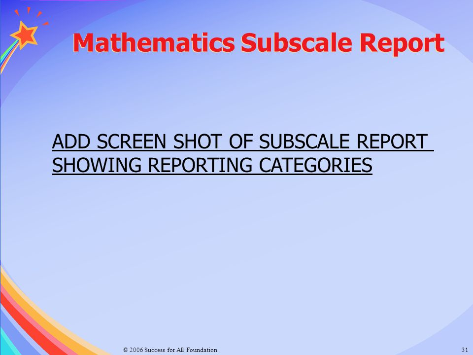 Mathematics Subscale Report