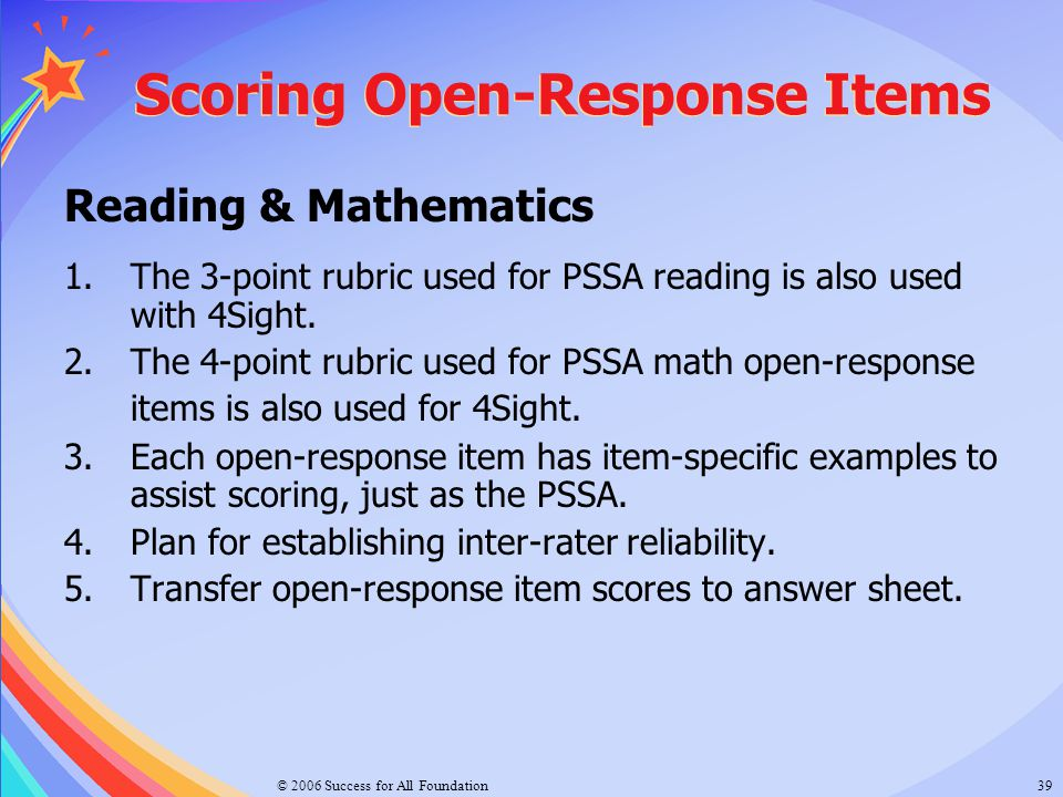 Scoring Open-Response Items