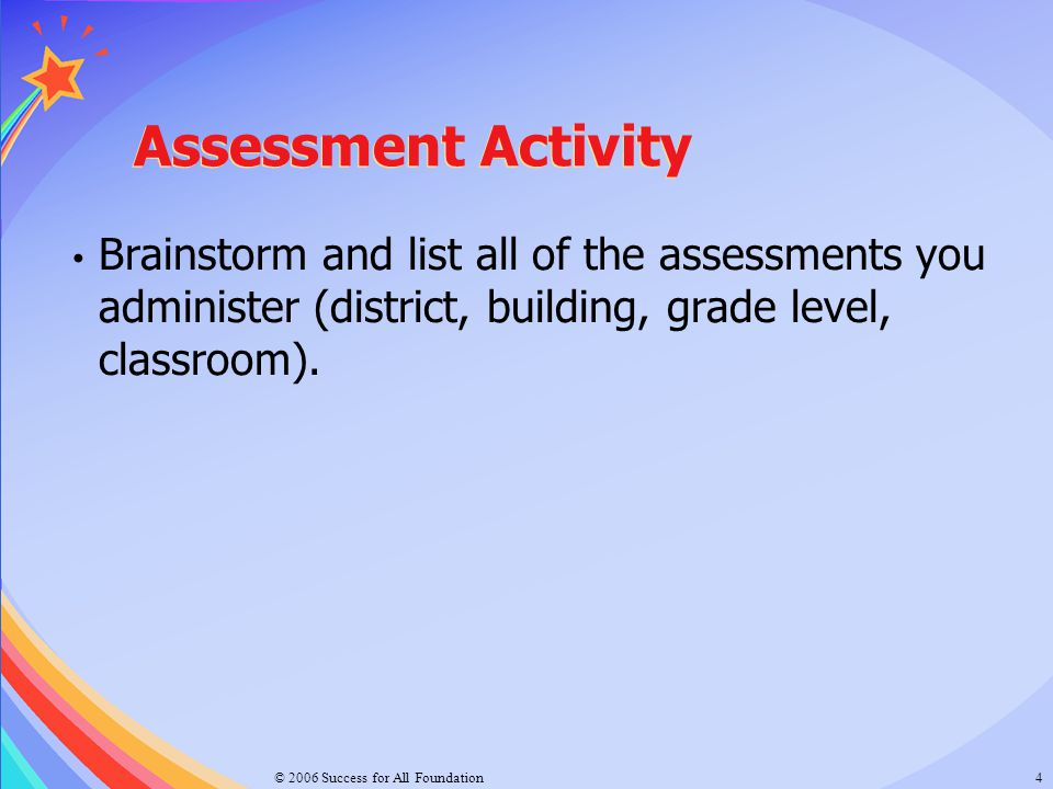 Assessment Activity Brainstorm and list all of the assessments you administer (district, building, grade level, classroom).