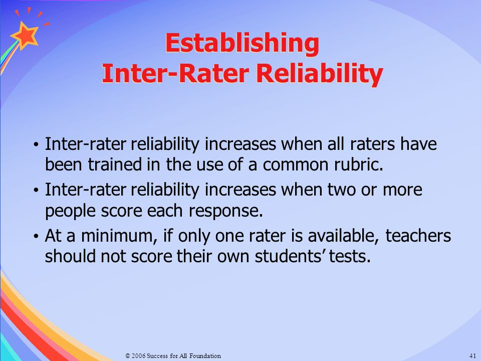 Establishing Inter-Rater Reliability