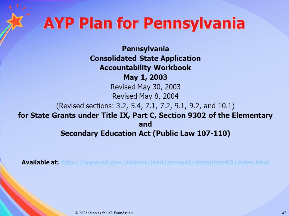 AYP Plan for Pennsylvania