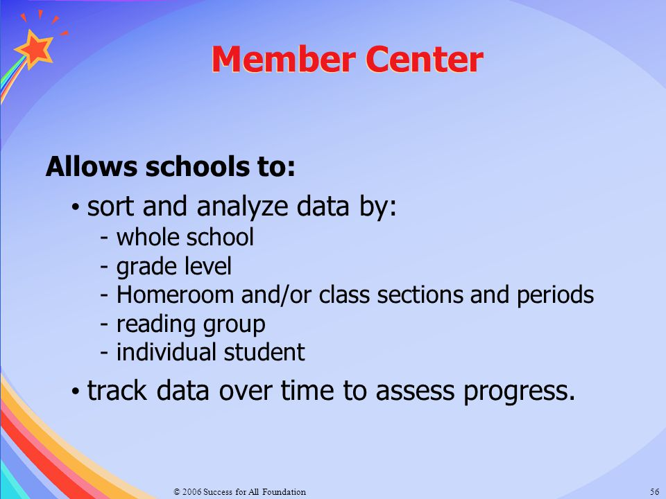 Member Center Allows schools to: sort and analyze data by: