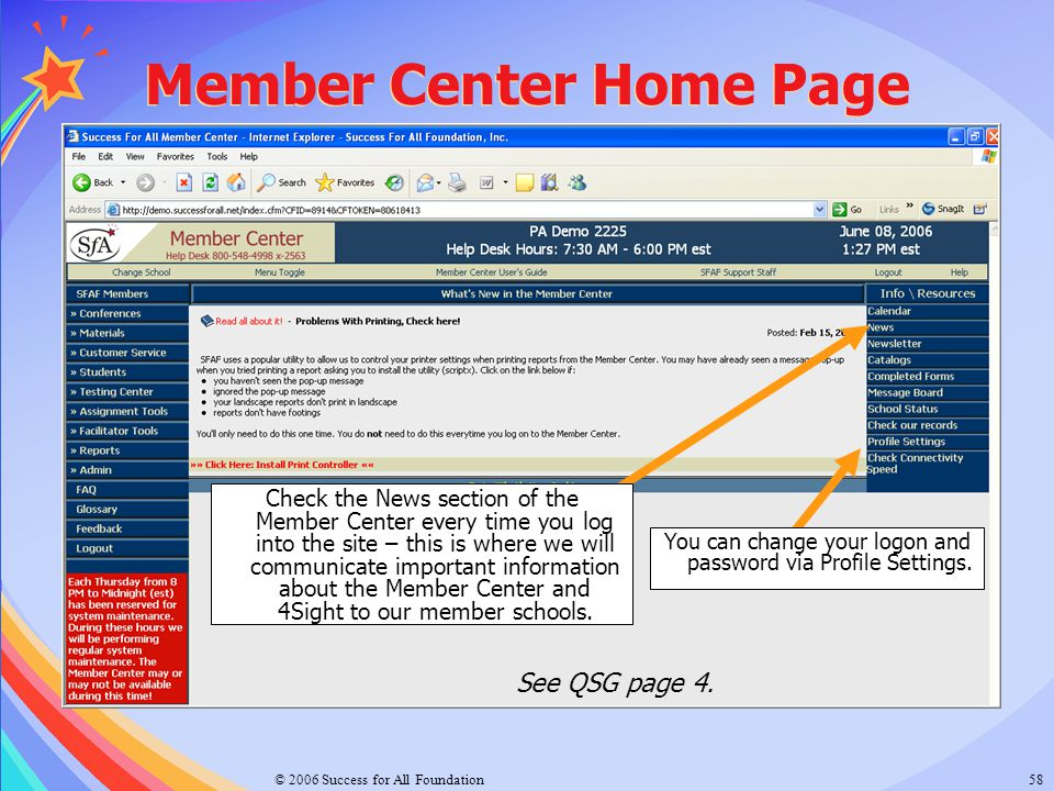 Member Center Home Page