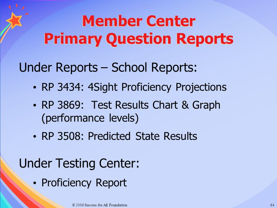 Member Center Primary Question Reports