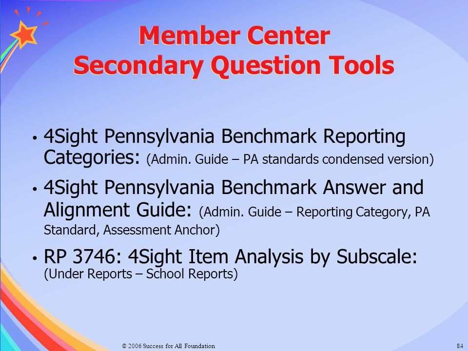 Member Center Secondary Question Tools