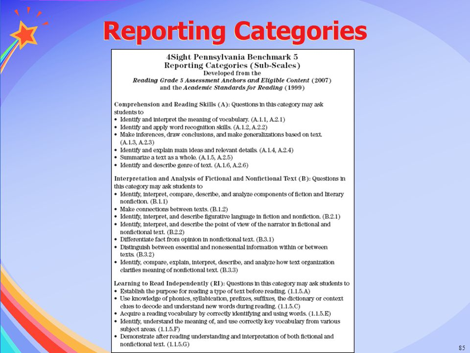 Reporting Categories © 2006 Success for All Foundation