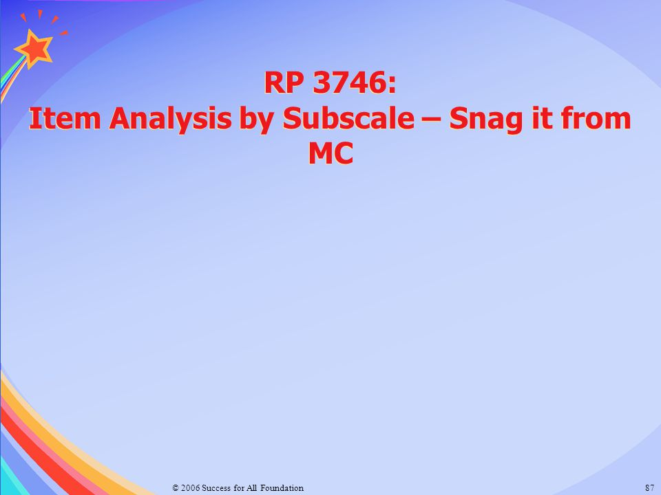 RP 3746: Item Analysis by Subscale – Snag it from MC