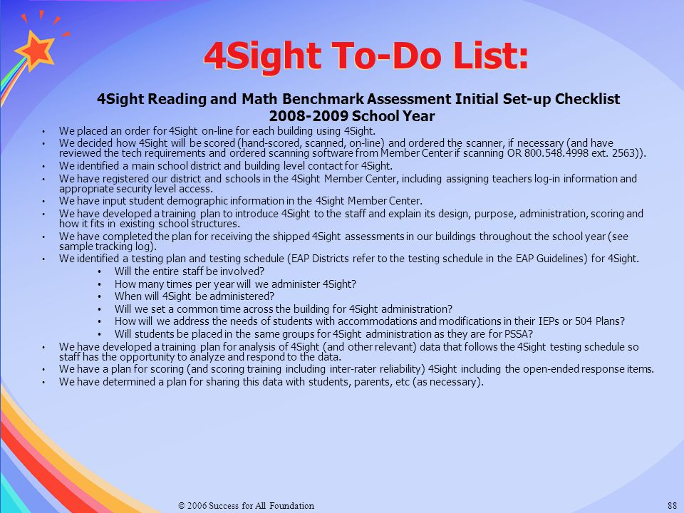 4Sight Reading and Math Benchmark Assessment Initial Set-up Checklist