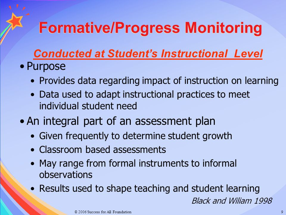 Conducted at Student's Instructional Level