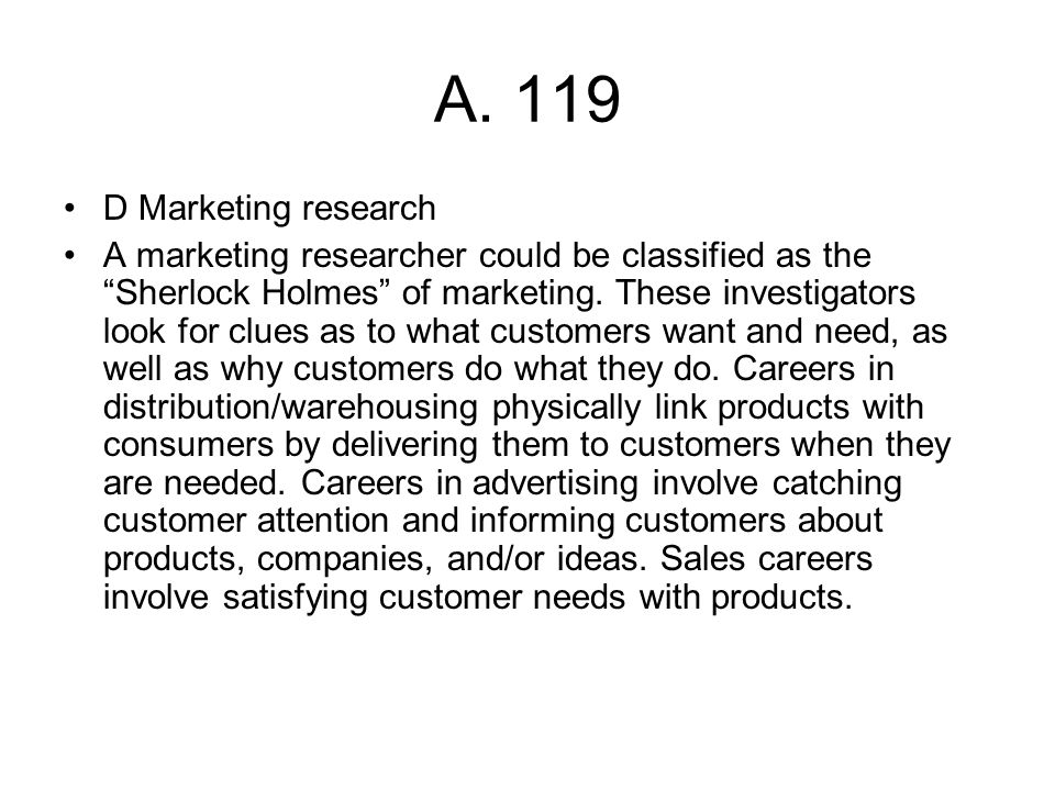 A. 119 D Marketing research.